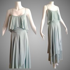 Vintage 70s Tiered Chiffon Layer Mint Green Maxi Gown Dress by Mollie Parnis