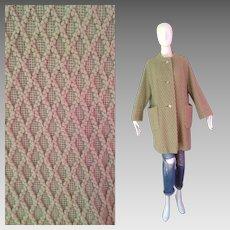 Vintage 50s Green Quilted Retro Coat ~ Formal Diamond Print Overcoat