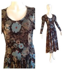 Vintage Anokhi for Sarah Clothes Floral Print Cotton Dress ~ Long Made in India Boho Hippie Maxi