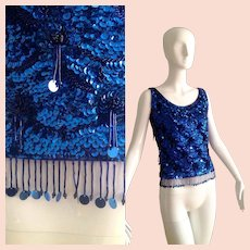 Vintage 50s Heavy Sequin Evening Top ~ Beaded FRINGE Shirt