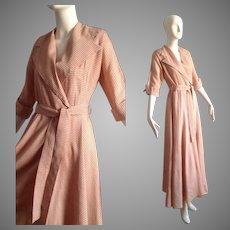 Vintage 30s 40s Pink Striped Robe ~ Cute 3/4 Sleeve Chevron Stripe Shirt Dress
