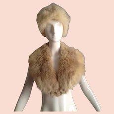 Vintage 1970s Extra Lush Fox Fur Shawl Collar And Hat Set ~ 2 Piece Set