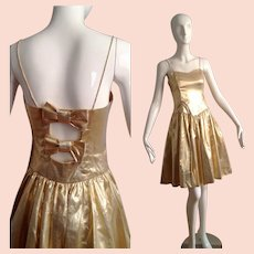 Vintage Metallic Gold Formal Party Dress ~Cut Out Bow Tie Cocktail Gown