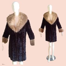 Opulent Edwardian Sable Trimmed Vintage Winter Coat The