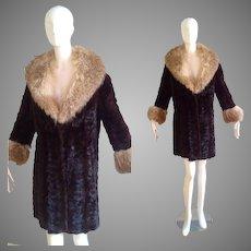 Vintage Dark Brown Mink Fur Coat with Fox Fur Collar and Cuffs