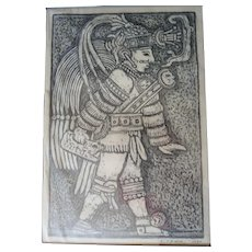 E CANUL (Eliezer Canul) Woodblock Print Signed 1970 Professionally Framed