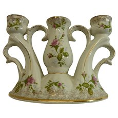 Chodziez Porcelain Triple Candle Stick Holder., Hand-Painted in Poland.