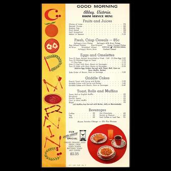 Vintage Menu from the ABBEY VICTORIA, Good Morning Room Service Menu SJ-3C, NYC Restaurant & Hotel