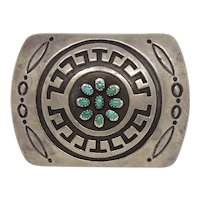 Rosco Scott Native American Sterling Silver Overlay Turquoise Belt Buckle