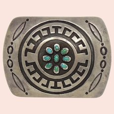 Rosco Scott Native American Sterling Silver Overlay Turquoise Belt Buckle