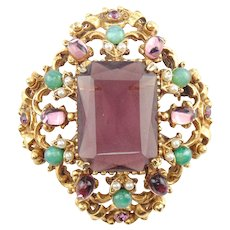 Signed Florenza Purple Glass Cabochon Rhinestone Simulated Pearl Gold Tone Pin Brooch