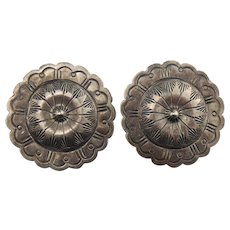 Old Pawn Native American Coin Silver Stamped Concho Earrings Pierced