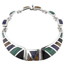Mexico Fine 950 Sterling Silver Multi-Stone Collar Necklace