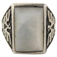 Fred Harvey Era Native American Sterling Silver Mother of Pearl Thunderbird Ring Size 10.5