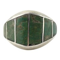 Navajo Native American Sterling Silver Inlaid Turquoise Ring Size 11
