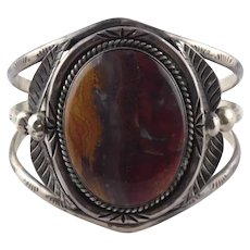 The Largest Old Pawn Native American Sterling Silver Agate Cuff Bracelet