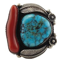 Fabulous Loren Begay Native American Sterling Silver Mediterranean Coral & Turquoise Ring Size 9.5