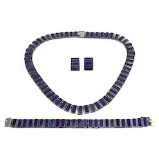 Sterling Silver Lapis Lazuli Necklace Bracelet Earrings Set