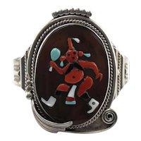 Augustine & Rosalie Pinto Zuni Native American Sterling Silver Mudhead Kachina Dancer Cuff Bracelet