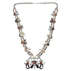 Sensa Eustace Zuni Native American Sterling Silver Honey Bee Squash Blossom Necklace