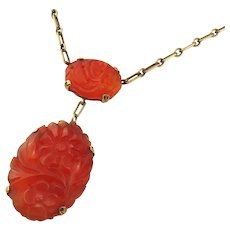 The Best Chinese 14K Yellow Gold Carved Carnelian Pendant Dangle Necklace