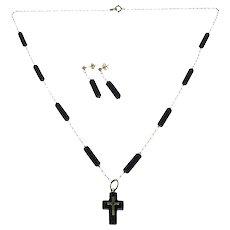 Benard Passman BKP 14K Yellow Gold & Black Coral Cross Pendant, Necklace & Earrings Set