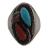 Nieto Sterling Silver Coral & Turquoise Rattle Snake Ring Size 12