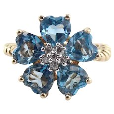 Beautiful 14K Yellow Gold Blue Topaz Hearts & Diamond Flower Ring