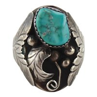 Large Native American Sterling Silver Turquoise Leaf Ring Size 13
