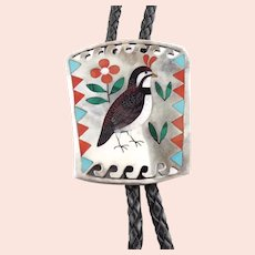 Sammy Esther Guardian Quail Bird Bolo Tie Necklace