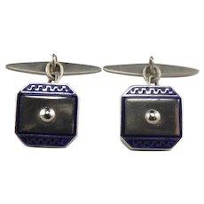 Portuguese 833 Silver Blue Enamel Cufflinks