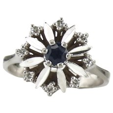 14K White Gold Sapphire & Diamond Halo Ring Size 6