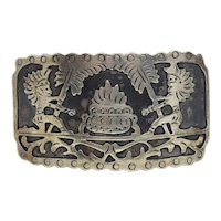 Eddie S. Mexico Sterling Silver Aztek Belt Buckle