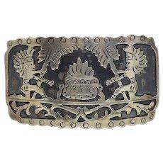Eddie S. Mexico Sterling Silver Aztek Belt Buckle