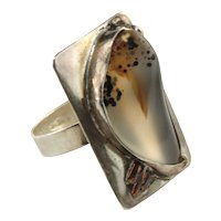 Sterling Silver Mixed Metals Spotted Agate Ring Size 8