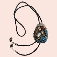 Extraordinary Native American Sterling Silver Raised Bear Bolo Tie Necklace