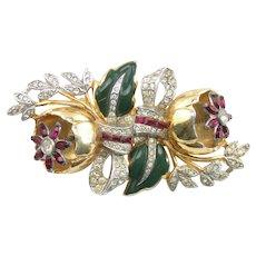 Coro Camellia Flower Enamel Rhinestone Duette Pin