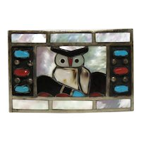 Filbert and Clara Gasper Zuni Native American Sterling Silver Owl Belt Buckle