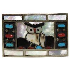 Filbert and Clara Gasper Zuni Native American Sterling Silver Owl Belt Buckle