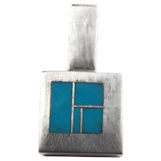 Tracey Knifewing Native American Sterling Silver Turquoise Pendant