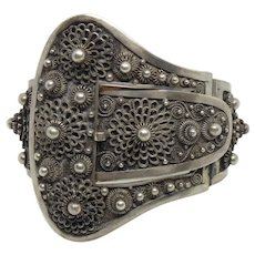 Substantial Antique Chinese French Indochina Silver Belt Buckle Hinged Bracelet