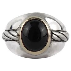 Stunning Franklin Mint 14K Yellow Gold Bezel & Sterling Silver Black Onyx Ring Size 11