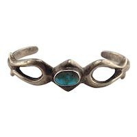 Petite Native American Sterling Silver Turquoise Sandcast Cuff Bracelet