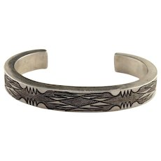 Native American Sterling Silver Hollow Form Cuff Bracelet