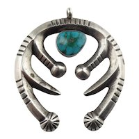 Native American Sterling Silver Turquoise Naja Pendant
