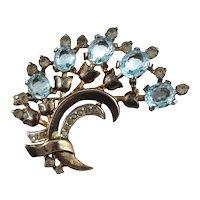 RARE Designer Signed Trifari Sterling Silver Blue Clear Rhinestone Pin