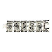 Wide Danecraft Sterling Silver Rose Floral Design Panel Bracelet