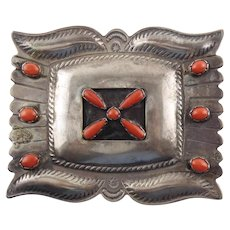 Large Native American Sterling Silver Coral Belt Buckle
