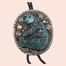 The largest Native American Sterling Silver Carved Turquoise Bear Bolo Tie Necklace