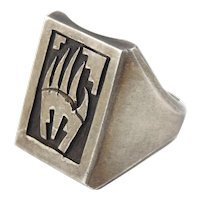 Hopi Native American Sterling Silver Bear Paw Ring Size 11